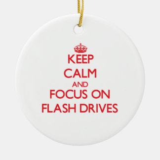 Keep Calm and focus on Flash Drives Christmas Ornament