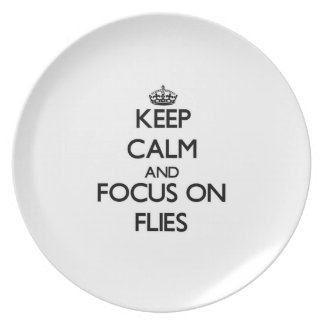 Keep Calm and focus on Flies Party Plate