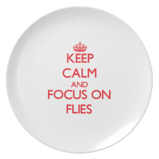 Keep Calm and focus on Flies Party Plates