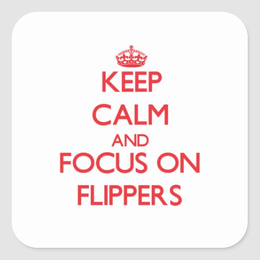 Keep Calm and focus on Flippers Square Stickers