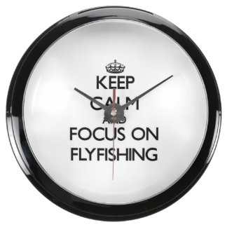 Keep Calm and focus on Flyfishing Fish Tank Clock