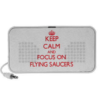 Keep Calm and focus on Flying Saucers iPhone Speaker