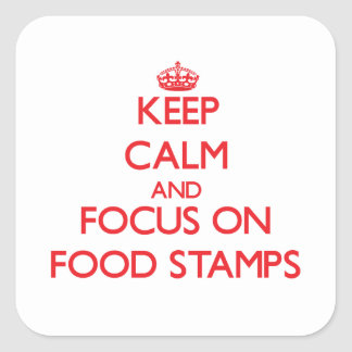 Keep Calm and focus on Food Stamps Square Sticker