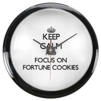 Keep Calm and focus on Fortune Cookies Aqua Clocks