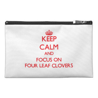 Keep Calm and focus on Four Leaf Clovers Travel Accessories Bags