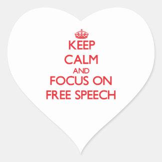 Keep Calm and focus on Free Speech Heart Sticker
