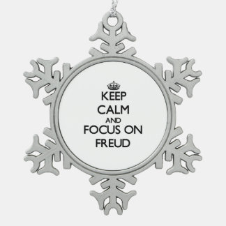 Keep Calm and focus on Freud Snowflake Pewter Christmas Ornament
