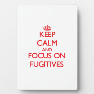 Keep Calm and focus on Fugitives Display Plaque
