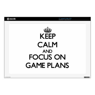 """Keep Calm and focus on Game Plans 17"""" Laptop Decal"""