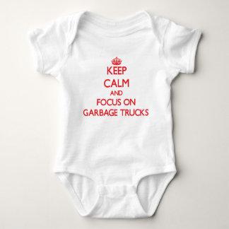 Keep Calm and focus on Garbage Trucks Baby Bodysuit