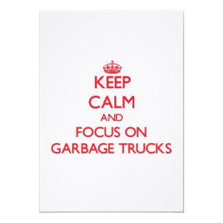Keep Calm and focus on Garbage Trucks Custom Invitations