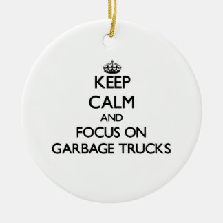 Keep Calm and focus on Garbage Trucks Double-Sided Ceramic Round Christmas Ornament