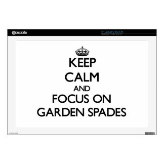 "Keep Calm and focus on Garden Spades 17"" Laptop Decals"