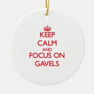Keep Calm and focus on Gavels Double-Sided Ceramic Round Christmas Ornament