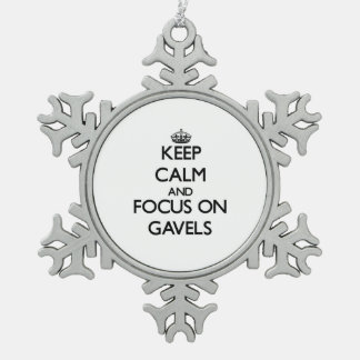 Keep Calm and focus on Gavels Snowflake Pewter Christmas Ornament