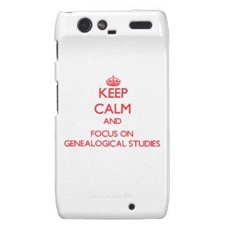 Keep Calm and focus on Genealogical Studies Droid RAZR Case