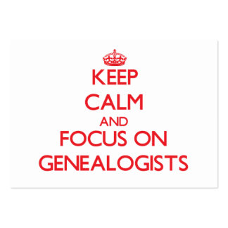 Keep Calm and focus on Genealogists Large Business Cards (Pack Of 100)