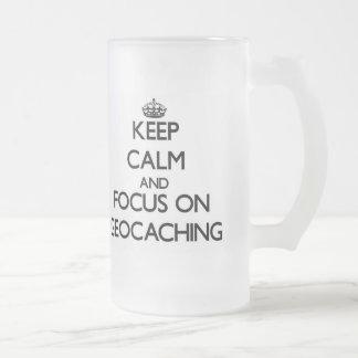 Keep calm and focus on Geocaching Glass Beer Mug