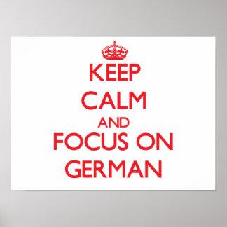 Keep Calm and focus on German Print