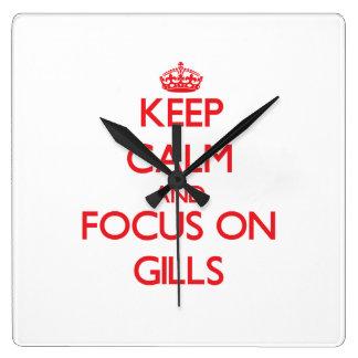 Keep Calm and focus on Gills Wall Clocks