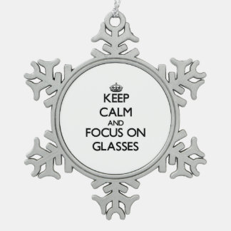 Keep Calm and focus on Glasses Snowflake Pewter Christmas Ornament