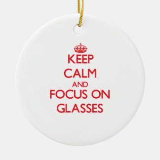 Keep Calm and focus on Glasses Double-Sided Ceramic Round Christmas Ornament