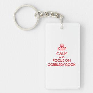 Keep Calm and focus on Gobbledygook Rectangle Acrylic Key Chain