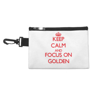 Keep Calm and focus on Golden Accessory Bag
