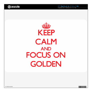 Keep Calm and focus on Golden Decal For MacBook