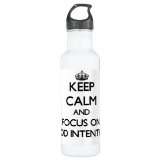 Keep Calm and focus on Good Intentions 24oz Water Bottle