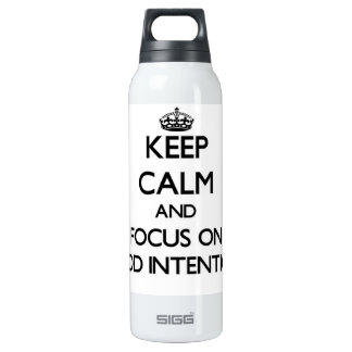 Keep Calm and focus on Good Intentions 16 Oz Insulated SIGG Thermos Water Bottle