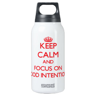 Keep Calm and focus on Good Intentions 10 Oz Insulated SIGG Thermos Water Bottle