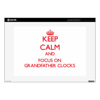 "Keep Calm and focus on Grandfather Clocks 15"" Laptop Decal"