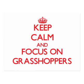 Keep Calm and focus on Grasshoppers Postcard