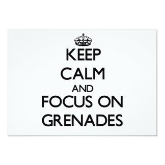 Keep Calm and focus on Grenades 5x7 Paper Invitation Card
