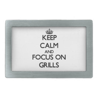 Keep Calm and focus on Grills Belt Buckle