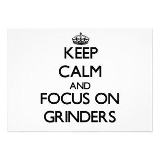 Keep Calm and focus on Grinders Custom Invitation