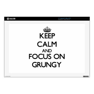 """Keep Calm and focus on Grungy 17"""" Laptop Skin"""