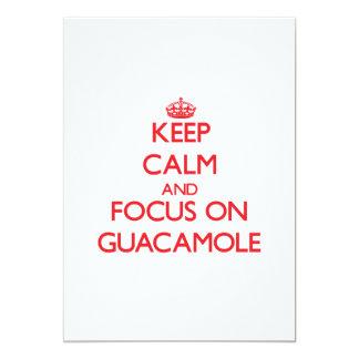 "Keep Calm and focus on Guacamole 5"" X 7"" Invitation Card"