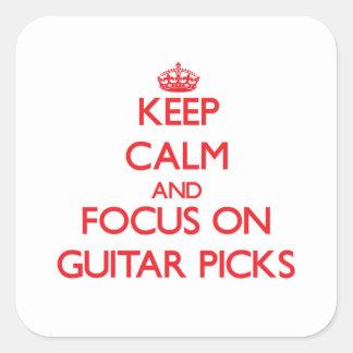 Keep Calm and focus on Guitar Picks Square Sticker
