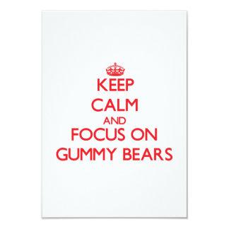 """Keep Calm and focus on Gummy Bears 3.5"""" X 5"""" Invitation Card"""