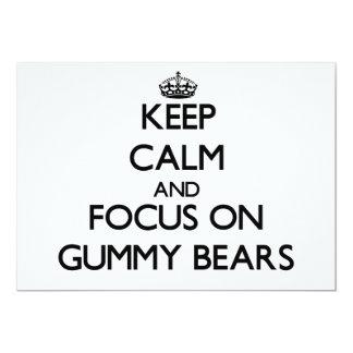 """Keep Calm and focus on Gummy Bears 5"""" X 7"""" Invitation Card"""
