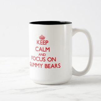 Keep Calm and focus on Gummy Bears Two-Tone Coffee Mug