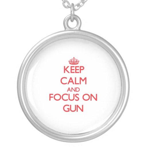 Keep Calm and focus on Gun Pendant