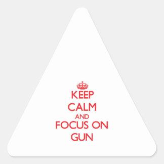 Keep Calm and focus on Gun Triangle Sticker