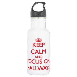 Keep Calm and focus on Hallways 18oz Water Bottle
