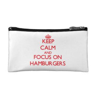 Keep Calm and focus on Hamburgers Makeup Bag