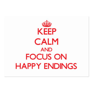 Keep Calm and focus on HAPPY ENDINGS Large Business Cards (Pack Of 100)