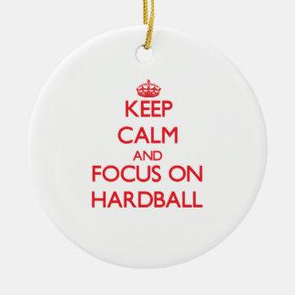 Keep Calm and focus on Hardball Christmas Tree Ornament