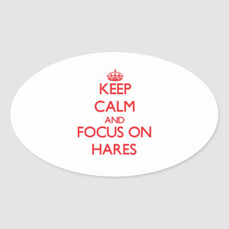 Keep calm and focus on Hares Stickers